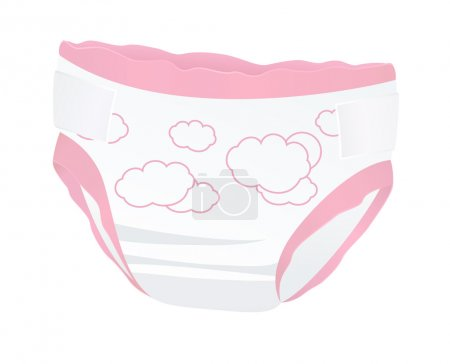 Baby diapers for girl (pink color) with funny picture (clouds). Isolated vector illustration on white background