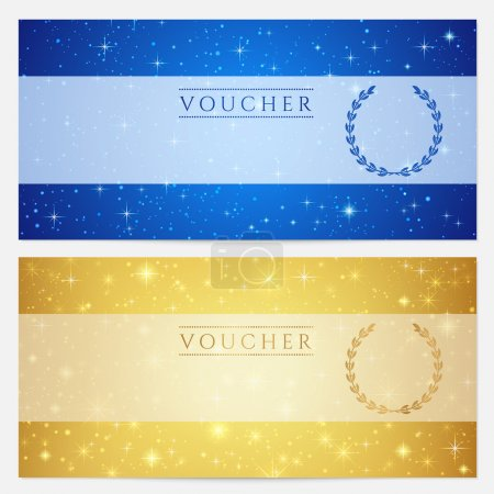 Gift certificate, Voucher, Coupon template with sparkling, twinkling stars. Night sky background design for invitation, banner, ticket. Vector in gold, blue color