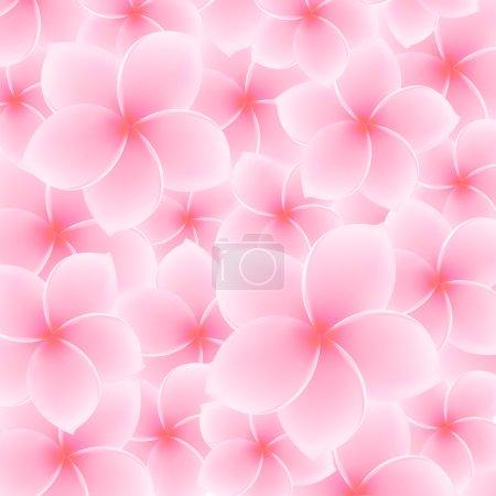 Tropical Pink Plumeria, Frangipani pattern (background) - Asian flower. Summer (spring) vacation symbol (Hawaii, Bali, Thailand etc.). Vector Illustration