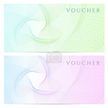 Illustration for Gift certificate, Voucher, Coupon template with colorful (rainbow) guilloche pattern (watermark). Background for banknote, money design, currency, note, check (cheque), ticket, reward. Vector - Royalty Free Image