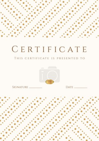 Certificate, Diploma of completion (template, background). Gold stripy (dots) pattern, white frame. Certificate of Achievement, award, winner, degree certificate, business Education (Courses), lessons