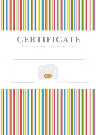 Certificate, Diploma of completion (template, background) with colorful stripy (lines) pattern. Certificate of Achievement, awards, winner, degree certificate, business Education (Courses), lessons