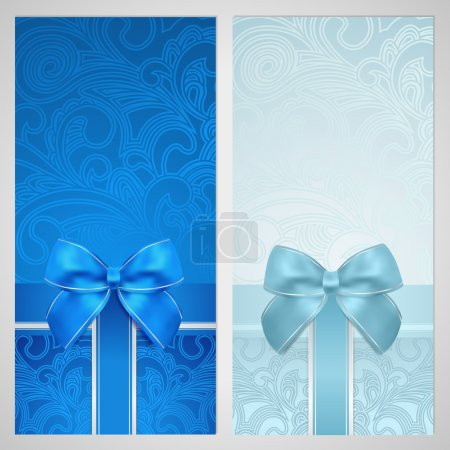 Photo for Voucher, Gift certificate, Coupon template with gift bow (ribbons, present). Holiday (celebration) background design (Christmas, Birthday) for invitation, banner, ticket. Vector in blue color - Royalty Free Image