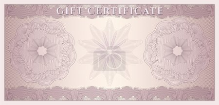 Voucher, Gift certificate, Coupon, ticket template. Guilloche pattern (watermark, spirograph). Background for banknote, money design, currency, bank note, check (cheque), ticket. Vector