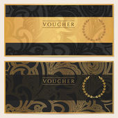 Voucher Gift certificate Coupon template Floral scroll pattern (bow frame) Background design for invitation ticket banknote money design currency check (cheque) Black gold vector