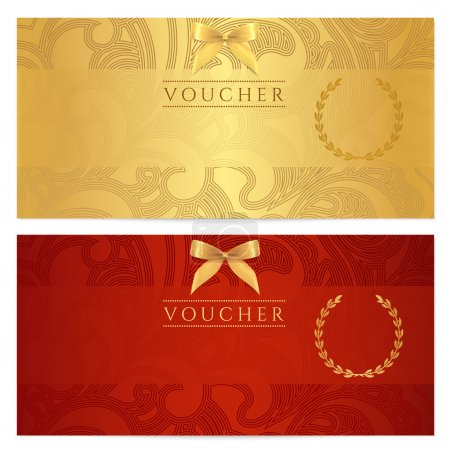 Photo for Voucher, Gift certificate, Coupon template. Floral, scroll pattern (bow, frame). Background design for invitation, ticket, banknote, money design, currency, check (cheque). Red, gold vector - Royalty Free Image