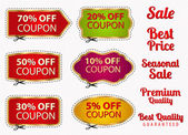 Vector set: Sale Coupons labels (banner tag) template (layout) with gold frame dotted line (dash line) percent cutting scissors (cut off) Design for sticker web ad ticket etc Corrugated background