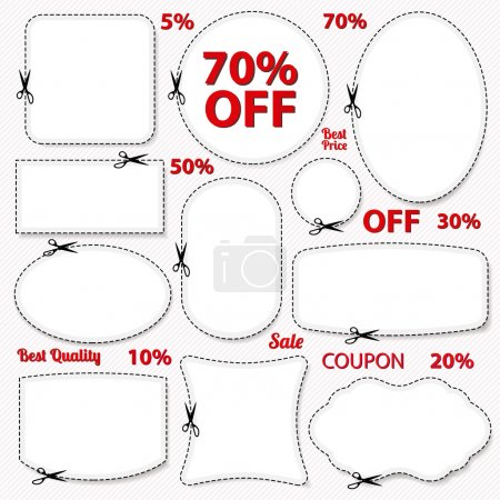 Set: Sale Coupon, labels (banner, tag) white template (vector design, layout) with blank frame, dotted line (dash line), red percent, scissors (cut off, cutting). Design save money, get discount