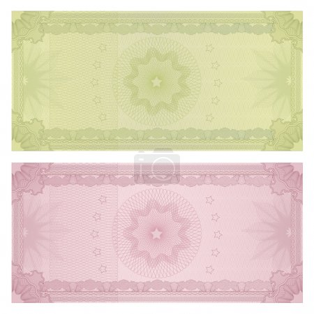 Photo for Voucher, Gift certificate, Coupon, ticket template. Guilloche pattern (watermark, spirograph). Background for banknote, money design, currency, bank note, check (cheque), ticket - Royalty Free Image