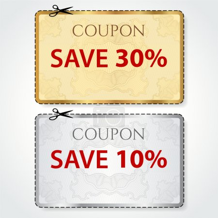 Sale Coupon, voucher, tag. Gold, silver template (vector design) with Guilloche pattern, frame, dotted line (dash line), red percent, scissors (cut off, cutting). Save money, get discount