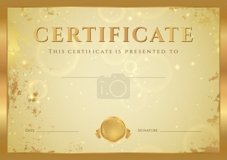 Certificate of completion, Diploma (design template, background) with gold grunge, old pattern, stars, frame. Golden Certificate of Achievement, coupon, award, winner