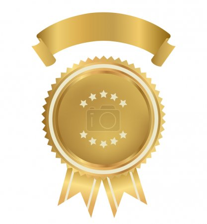 Award, Insignia, Badge for certificate, diploma, web page. Golden medal with gold ribbon (sign of winner). Prize of First. Premium quality, Best price, choice, guarantee, Best seller. Isolated vector