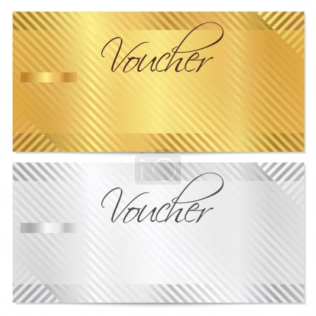 Voucher, Gift certificate, Coupon template with stripe pattern. Gold and silver background for money design, currency, note, check (cheque), ticket, reward. Vector