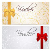 Voucher Gift certificate Coupon template with floral scroll pattern red and gold bow Background for invitation money design currency note check (cheque) ticket reward Vector