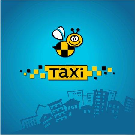 Illustration pour Taxi avec logo abeille sur le fond de l'horizon de la ville - image libre de droit