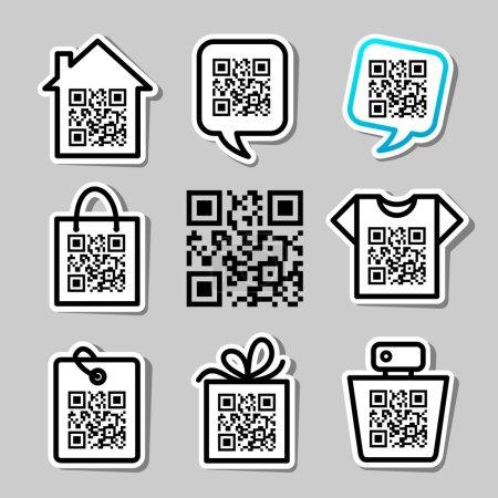 QR-Code. Set of 8 pictograms