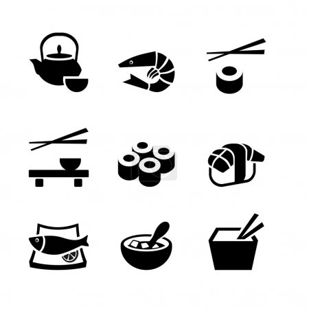 Set of 9 icons. Japanese food