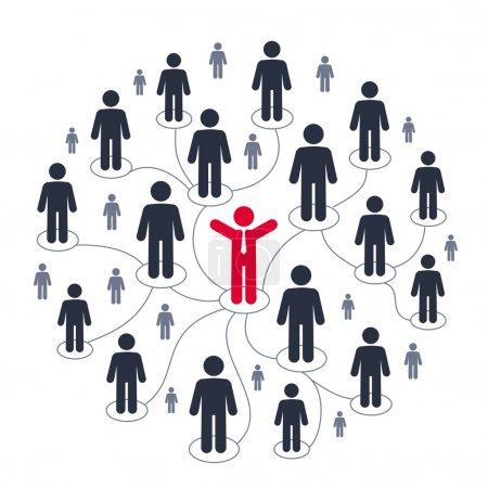 Illustration pour Marketing sur les médias sociaux. Icônes des personnes, communication - image libre de droit