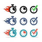 Web icons set Time stopwatch clock