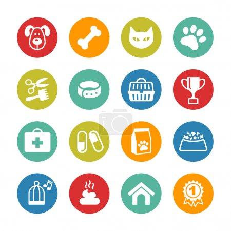 Illustration pour Animaux icônes ensemble. Emblèmes vétérinaires, pharmacie vétérinaire - image libre de droit