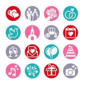 16 web icons set Wedding bride and groom love celebration