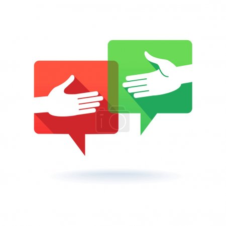 Illustration for Speech bubbles with shaking hands - Royalty Free Image