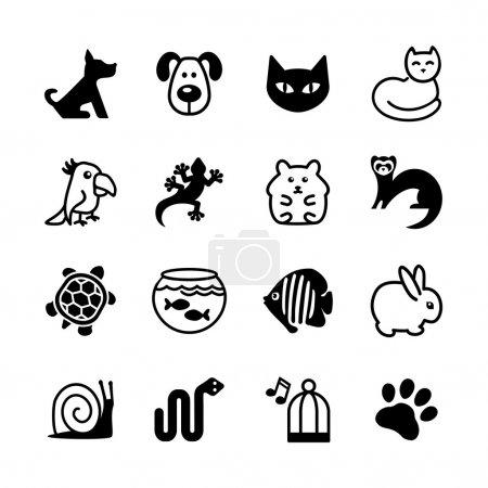 Illustration pour Ensemble de 16 icônes web. Animalerie, types d'animaux . - image libre de droit