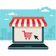 Online store. Sale, Laptop with awning...