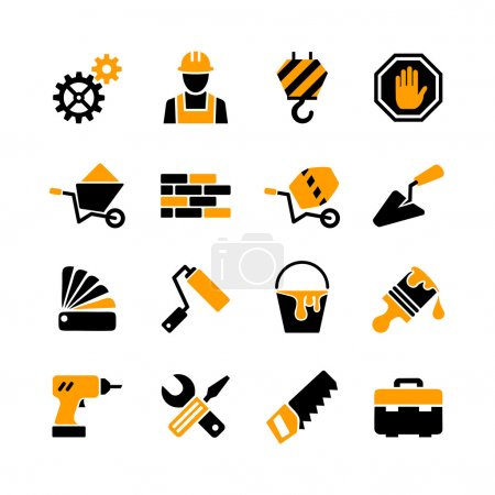 16 web icons set - building, construction, repair and decoration