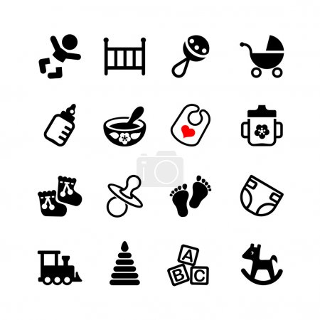 Set of 16 web icons. Baby, suckling, child