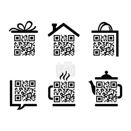 QR-Code. Set of pictograms for website