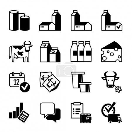 Illustration pour Icône Set - Production laitière, gamme, ventes, bénéfices - image libre de droit