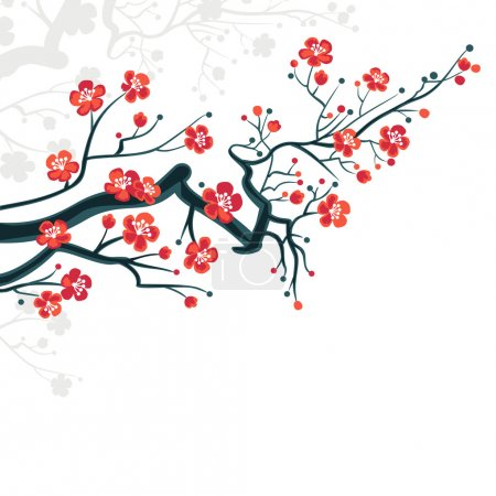 Illustration for Сherry blossoms background - spring japanese symbol - Royalty Free Image