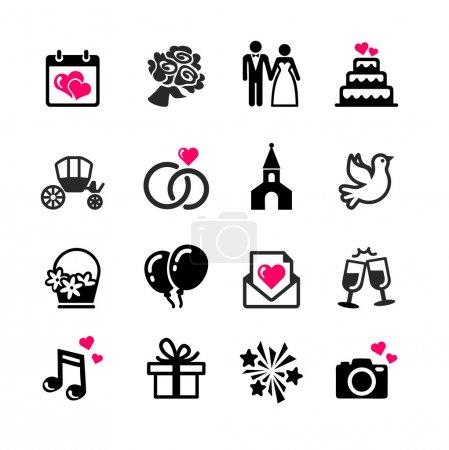 Illustration pour Ensemble de 16 icônes web - Mariage, mariage, mariage - image libre de droit