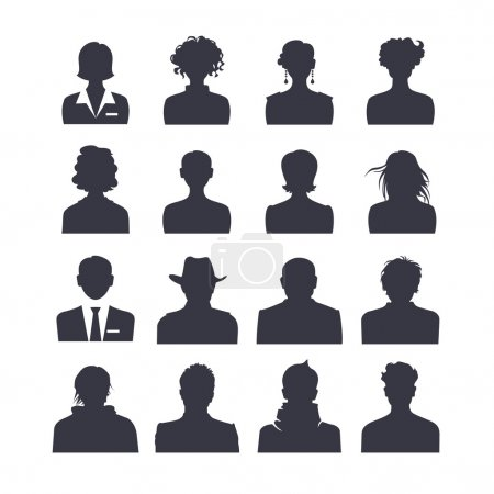 Illustration for Web icon set of people avatars. 16 silhouette - Royalty Free Image