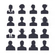 Web icon set of people avatars. 16 silhouette...