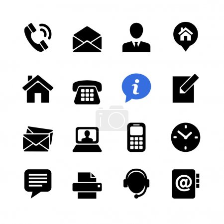 Web communication icon set: contact us