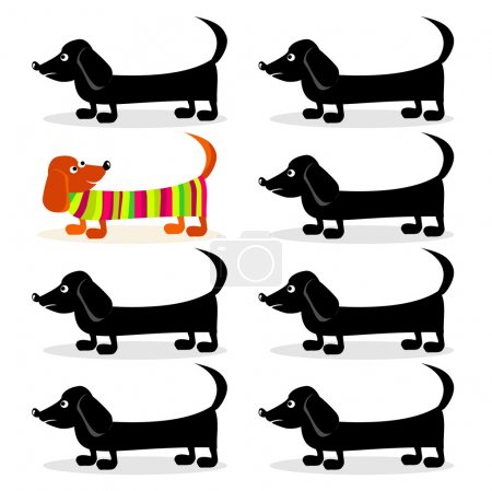 Illustration for Dachshund dogs - think differently - Royalty Free Image