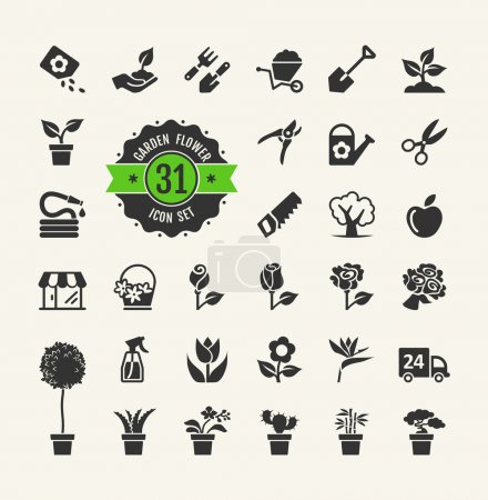 Illustration for Flower and Gardening Tools Icons set - Royalty Free Image