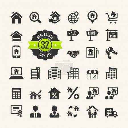 Illustration for Set web icons. Real Estate, property, realtor - Royalty Free Image