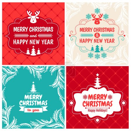 4 Vintage styled Christmas Card - Set of typographic elements, frames, vintage labels