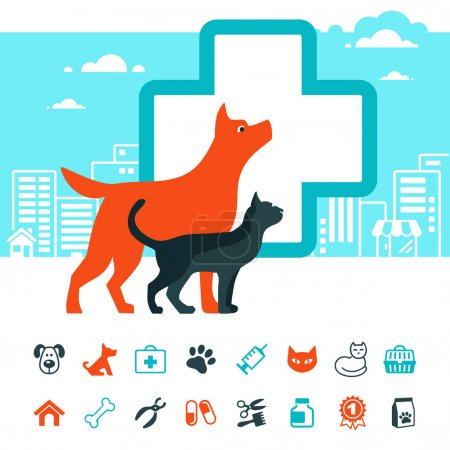 Vector veterinary emblem and pets icon set