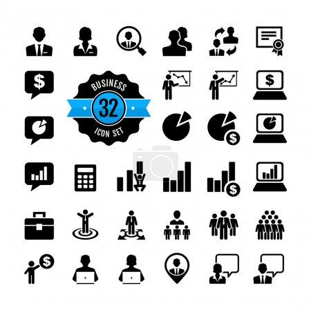 Office people icon set. Business, career, finance, profit