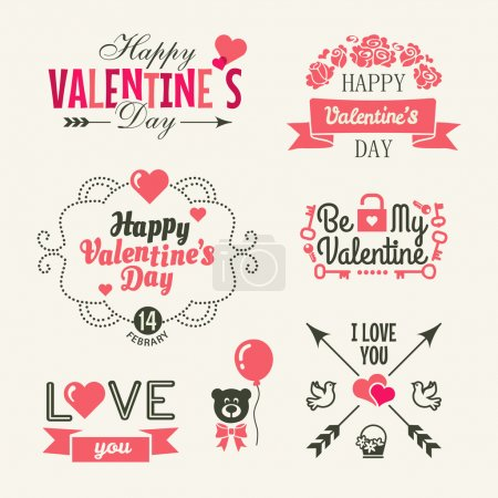 Illustration for Valentine's day. Set of typography elements with hearts. Vector collection - Royalty Free Image