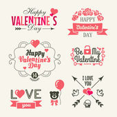 Valentine's day Set of typography elements with hearts Vector collection