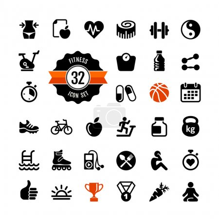 Set health and fitness pictograms