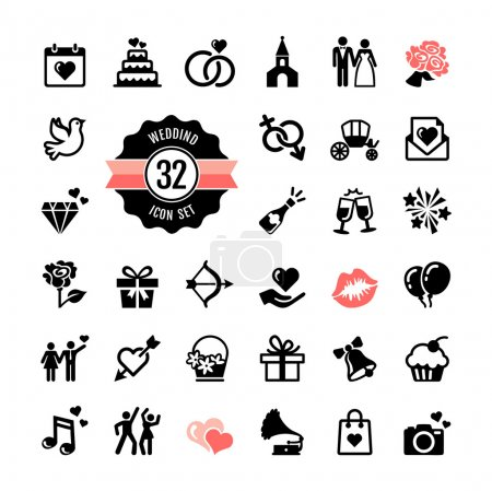 Illustration for Web icon set - Wedding, marriage, bridal - Royalty Free Image