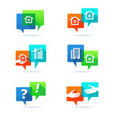 Real estate elements Web set with speech bubbles