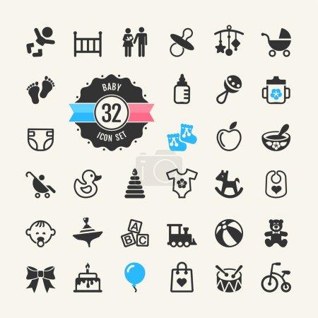 Illustration pour Jeu d'icônes Web. Bébé, jouets et soins - image libre de droit