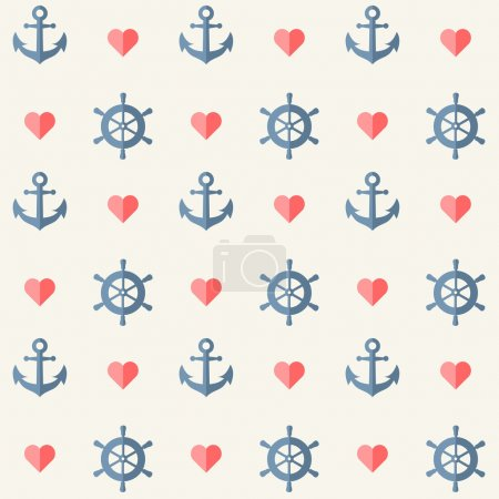Seamless nautical background with anchors and ship wheels